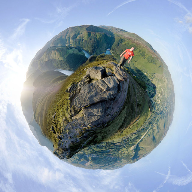 """The Summit of Win Hill, Derbyshire. Showing Ladybower Reservoir and Derwent Edge behind it, Bamford Edge behind me, Hope valley to the bottom right and Lose Hill at the bottom left"". (""Little Planets"" Project. Photo and comment by Dan Arkle)"