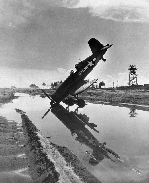 It wasn't curiosity but a skid off the runway at Torokina field, Bougainville Island on February 10, 1944. The accident happened after an attempted take-off. The pilot escaped uninjured, a new propeller was installed, and both flier and plane were ready to take on more Japanese. (Photo by AP Photo)
