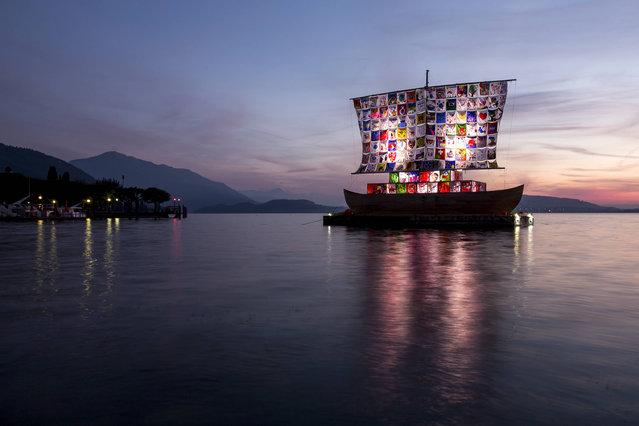 "The ""Ship of Tolerance"", an art project of Ilya Kuenstlerpaares and Emilia Kabakov, on Lake Zug, Switzerland on Wednesday, September 28, 2016. (Photo by Alexandra Wey/Keystone)"