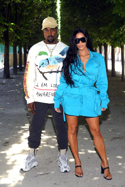 Kanye West and Kim Kardashian attend the Louis Vuitton Menswear Spring/Summer 2019 show as part of Paris Fashion Week on June 21, 2018 in Paris, France. (Photo by Pascal Le Segretain/Getty Images)