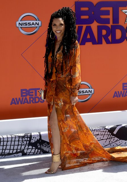 Jasmin Brown arrives at the BET Awards at the Microsoft Theater on Sunday, June 24, 2018, in Los Angeles. (Photo by Willy Sanjuan/Invision/AP Photo)