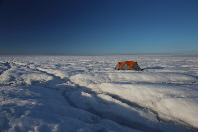 A tent, near the worksite of scientists Sarah Das from the Woods Hole Oceanographic Institution and Ian Joughin of the University of Washington along with their team, as they conduct research on July 15, 2013 on the glacial ice sheet. The scientists set up Global Positioning System sensors to closely monitor the evolution of the surface lakes and the motion of the surrounding ice sheet and have uncovered a plumbing system for the ice sheet, where meltwater can penetrate thick, cold ice and accelerate some of the large-scale summer movements of the ice sheet. (Photo by Joe Raedle/Getty Images via The Atlantic)