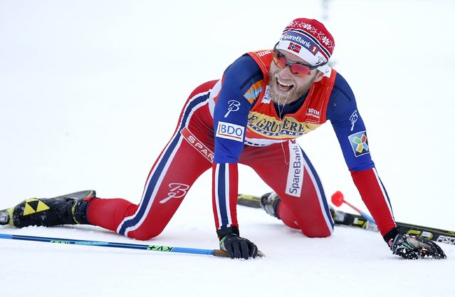 FIS Tour de Ski overall men winner Martin Johnsrud Sundby of Norway reacts after crossing the finish line, after the men's cross-country skiing 9km final climb pursuit free race on the Alpe Cermis, in Val di Fiemme January 10, 2016. (Photo by Alessandro Garofalo/Reuters)