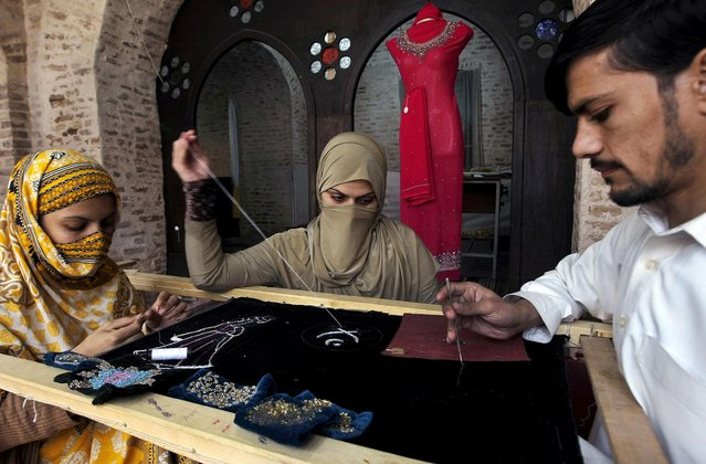 Pakistani women learn traditional embroidery on costumes at a governmental training center in Peshawar, Pakistan, Tuesday, December 8, 2015. (Photo by Mohammad Sajjad/AP Photo)