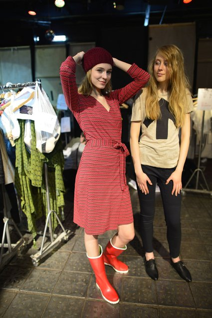 """Models are seen backstage ahead of the """"Ethical Fashion Show"""" during the Mercedes-Benz Fashion Week Berlin Autumn/Winter 2016 at Postbahnhof on January 19, 2016 in Berlin, Germany. (Photo by Thomas Lohnes/Getty Images for Ethical Fashion)"""