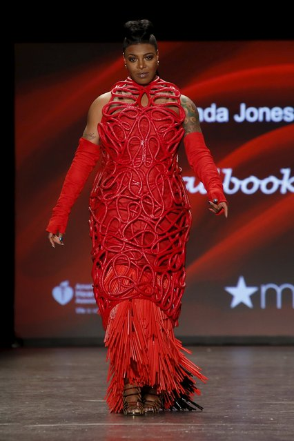 Ta'Rhonda Jones presents a creation during the American Heart Association's (AHA) Go Red For Women Red Dress Collection, presented by Macy's at New York Fashion Week February 11, 2016. (Photo by Andrew Kelly/Reuters)