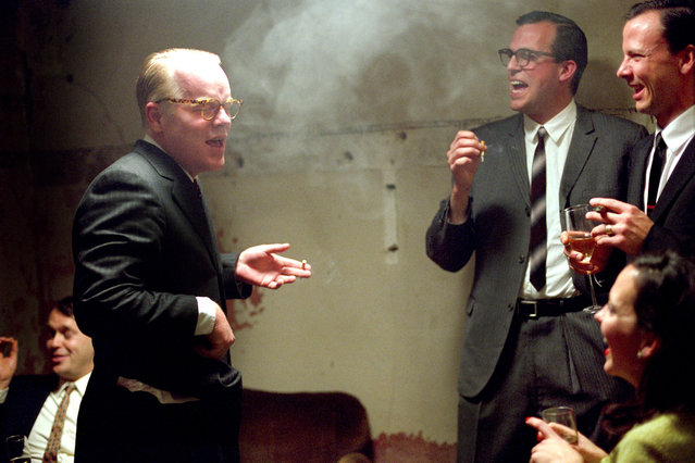 """""""Capote"""", Philip Seymour Hoffman (L), 2005. (Photo by Sony Pictures Classics/Everett Collection)"""