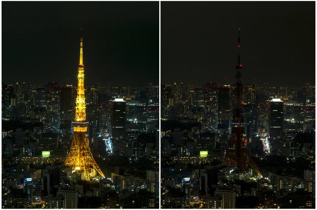 A combination picture shows an overview of central Tokyo with the illuminated Tokyo Tower at the centre before (L) and during Earth Hour, when its lights were switched off, Japan, March 19, 2016. (Photo by Thomas Peter/Reuters)
