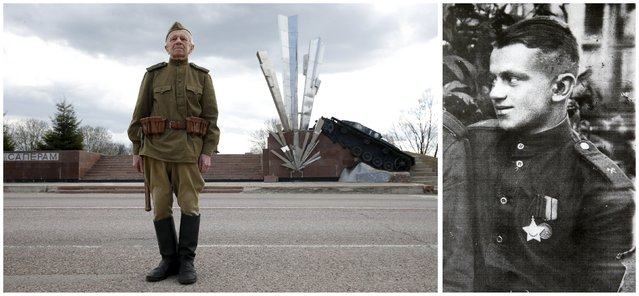 World War Two veteran and former sapper and military engineer Nikolai Melnikov, 92, is seen in an undated handout photo (R) and posing for a picture in front of the Monument to Eleven Sappers near Volokolamsk in Moscow region, Russia, April 13, 2015. Melnikov, retired junior sergeant, a Red Army soldier served as a sapper and military engineer at the South and Ukrainian fronts, took part in the Battle of Stalingrad, in the liberation of Poland and Germany. (Photo by Maxim Zmeyev (L)//Family Handout via Reuters (R))