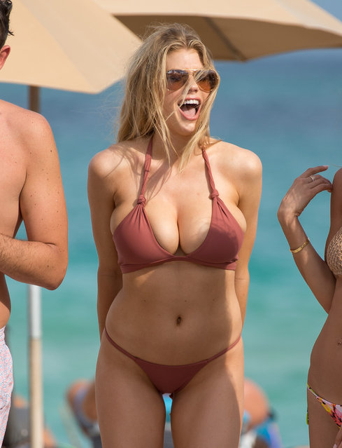 Model Charlotte McKinney shows off her bikini body in Miami, Florida on Sunday, February 19, 2017 afternoon. Wore a 2 piece bikini in the sunshine. (Photo by Splash News and Pictures)
