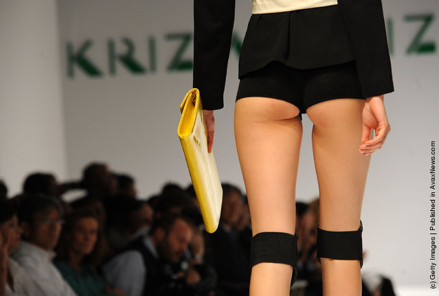 A model walks the runway at the  Krizia Spring/Summer 2012 fashion show as part Milan Womenswear Fashion Week