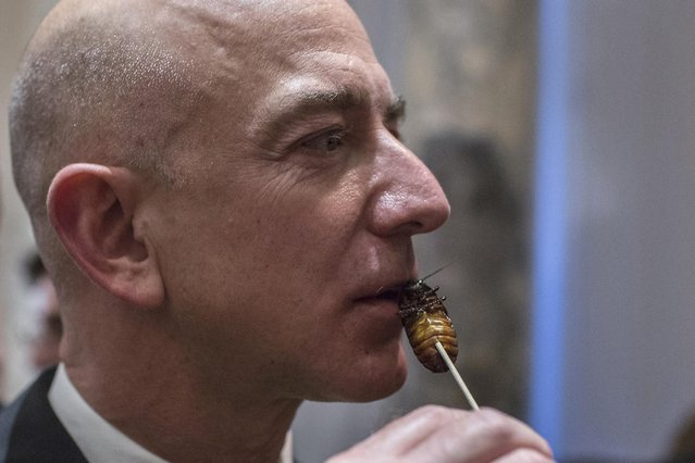Amazon Chairman and CEO Jeff Bezos samples cooked cockroach at the 110th Explorers Club Annual Dinner at the Waldorf Astoria in New York March 15, 2014. (Photo by Andrew Kelly/Reuters)