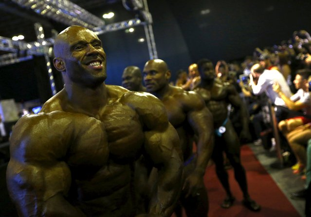 U.S bodybuilder Juan Morel poses before the finals of the Arnold Classic Brazil 2015 in Rio de Janeiro, May 30, 2015. REUTERS/Ricardo Moraes
