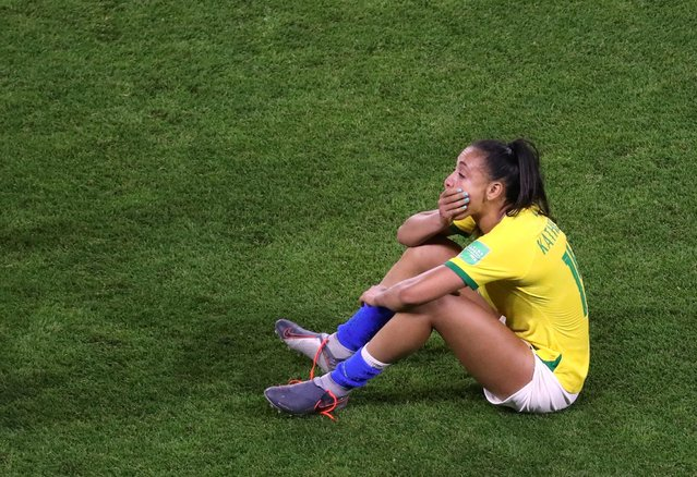 #14 Kathellen of Brazil show her dejection after the 2019 FIFA Women's World Cup France Round Of 16 match between France and Brazil at Stade Oceane on June 23, 2019 in Le Havre, France. (Photo by Yves Herman/Reuters)