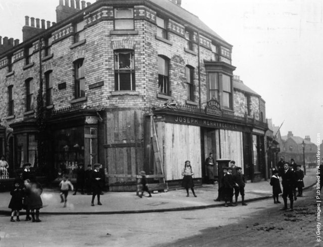 1914: Merryweathers, a shop in Scarborough boarded up as a result of a bombardment of the town by German ships