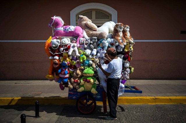 A vendor sells teddy bears and other soft toys in the streets of Granada, city some 45 km from Managua, Nicaragua, on July 16, 2015. (Photo by Inti Ocon/AFP Photo)