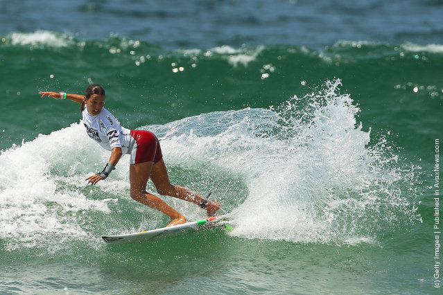 Sally Fitzgibbons of Australia competes in the Women's Final of the 2012 Australian Surfing Open in Manly, Australia