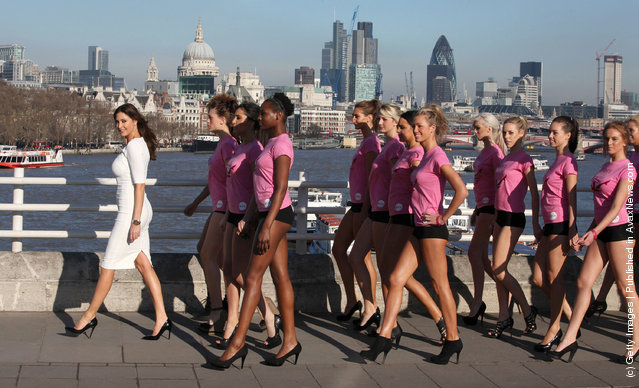 Lisa Snowdon takes part in the launch of the new Veet Easywax campaign in a bid to find 'Britain's Greatest Legs' on February 23, 2012 in London