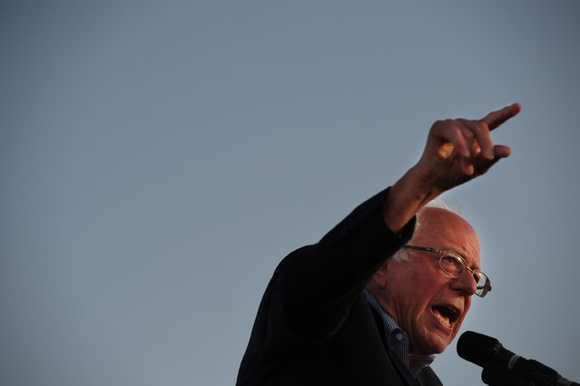 Presidential candidate, Bernie Sanders speaks at a rally at Santa Monica High School on Monday May 23, 2016 in Santa Monica, CA. The primary in California is June 7th. (Photo by Matt McClain/The Washington Post)
