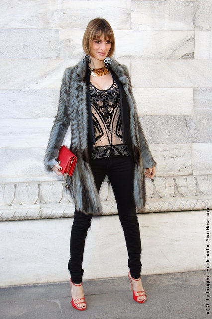 Gaia Bermani Amaral attends the Roberto Cavalli Autumn/Winter 2012/2013 fashion show as part of Milan Womenswear Fashion Week
