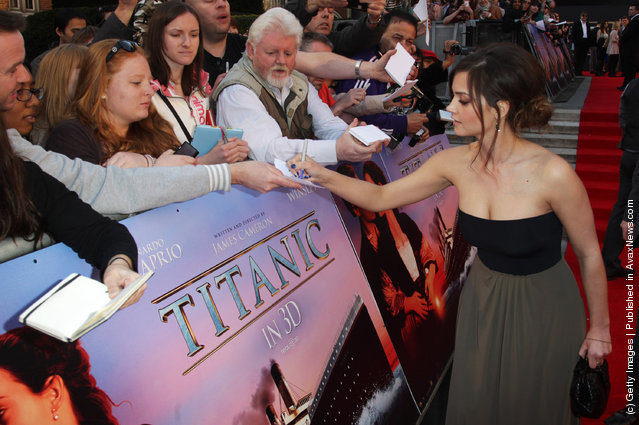Jenna Louise Coleman attends the world premiere of Titanic 3D at The Royal Albert Hall
