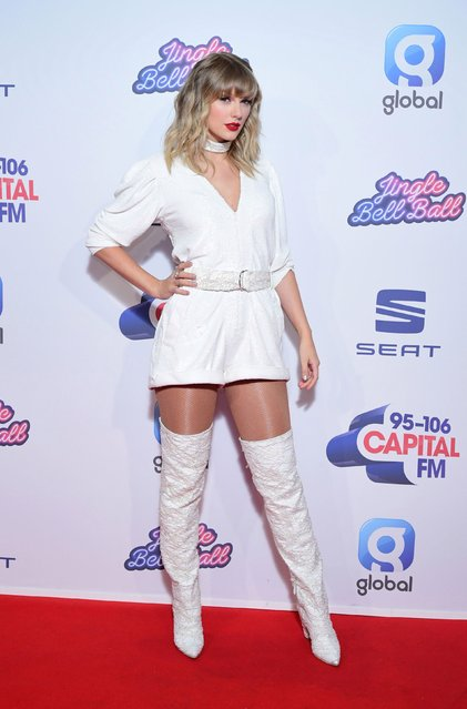 Taylor Swift during the media run on day two of Capital's Jingle Bell Ball with Seat at London's O2 Arena on December 8, 2019. (Photo by Ian West/PA Images via Getty Images)