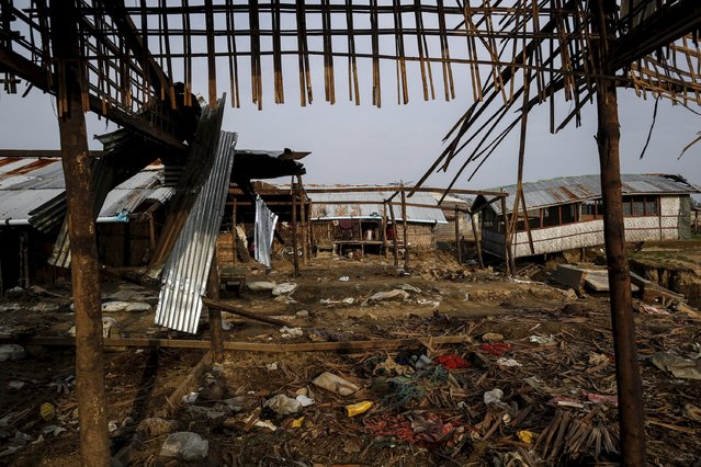 The frame of a damaged shelter is seen in Rohingya IDP camp outside Sitttwe, Rakhine state August 4, 2015. (Photo by Soe Zeya Tun/Reuters)