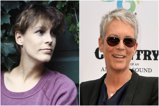 Jamie Lee Curtis in 1988 and today. (Photo by Everett Collection/Getty Images)
