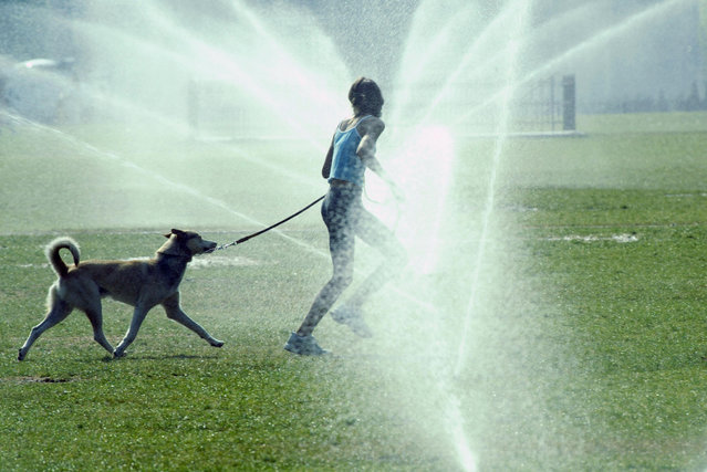 A girl and her dog run through some sprinklers to refresh themselves at the Champs de Mars in Paris, 12 August 2003. (Photo by Jean-Pierre Muller/AFP Photo)