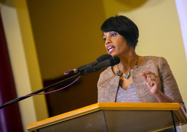 Baltimore mayor Stephanie Rawlings-Blake speaks at a church in Baltimore, Maryland April 30, 2015. (Photo by Eric Thayer/Reuters)