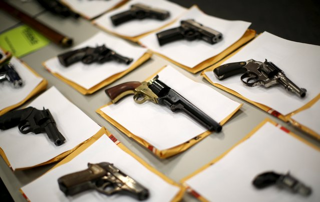 Some of the guns seized over the last week are seen on display at the Chicago Police Department in Chicago, Illinois, United States, August 31, 2015. (Photo by Jim Young/Reuters)