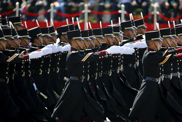 Mexican soldiers march during the military parade to mark the 70th anniversary of the end of World War Two, in Beijing, China, September 3, 2015. (Photo by Damir Sagolj/Reuters)