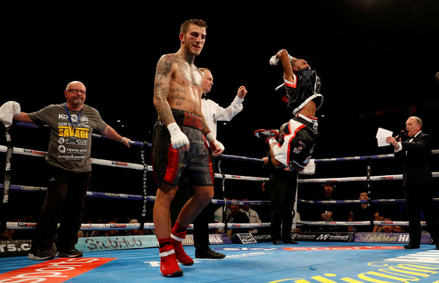 Mohamed Mimoune celebrates after victory over Sam Eggington in the EBU Welterweight Championship fight at Manchester Arena on October 7, 2017 in Manchester, England. (Photo by Lee Smith/Reuters/Action Images)
