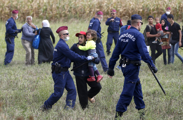 Hungarian police officers stop a group of migrants near a temporary holding center for asylum seekers in Roszke, southern Hungary, Tuesday, September 8, 2015. Hungarian police stood by as thousands of migrants hopped cross-border trains Sunday into Austria, taking advantage of Hungary's surprise decision to stop screening international train travelers for travel visas, a get-tough measure that the country had launched only days before to block their path to asylum in Western Europe. (Photo by Darko Vojinovic/AP Photo)