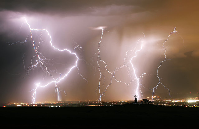 """Electric Night"". This lightning storm had prolific lightning for a time during the monsoon in August. Photo location: Castle Rock, Colorado. (Photo and caption by Adam Adkins/National Geographic Photo Contest)"