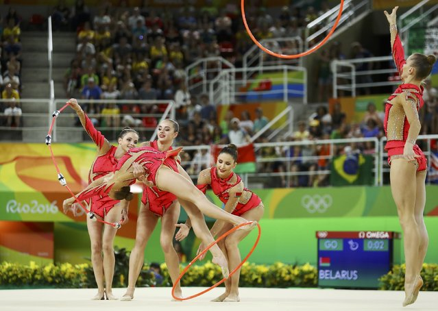 2016 Rio Olympics, Rhythmic Gymnastics, Preliminary, Group All-Around Qualification, Rotation 2, Rio Olympic Arena, Rio de Janeiro, Brazil on August 20, 2016. Team Belarus (BLR) compete using clubs and hoops. (Photo by Mike Blake/Reuters)