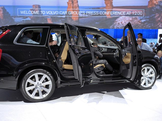 The Volvo XC 90 is displayed at the Paris Auto Show on October 2, 2014, on the first of the two press days. (Photo by Eric Piermont/AFP Photo)