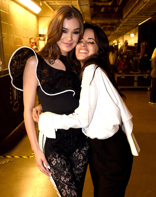 Hailee Steinfeld (L) and Camila Cabello are seen backstage at 106.1 KISS FM's Jingle Ball 2017 Presented by Capital One at American Airlines Center on November 28, 2017 in Dallas, Texas. (Photo by Kevin Mazur/Getty Images for iHeartMedia)