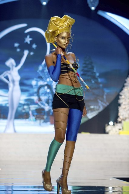Miss Tanzania Winfrida Dominic performs onstage at the 2012 Miss Universe National Costume Show on Friday, December 14, 2012 at PH Live in Las Vegas, Nevada. The 89 Miss Universe Contestants will compete for the Diamond Nexus Crown on December 19, 2012. (Photo by AP Photo/Miss Universe Organization L.P., LLLP)