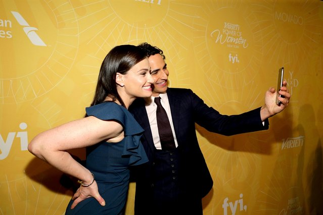 Idina Menzel (L) and Zac Posen attend Variety Power Of Women: New York presented by FYI at Cipriani 42nd Street on April 25, 2014 in New York City. (Photo by Neilson Barnard/Getty Images for Variety)