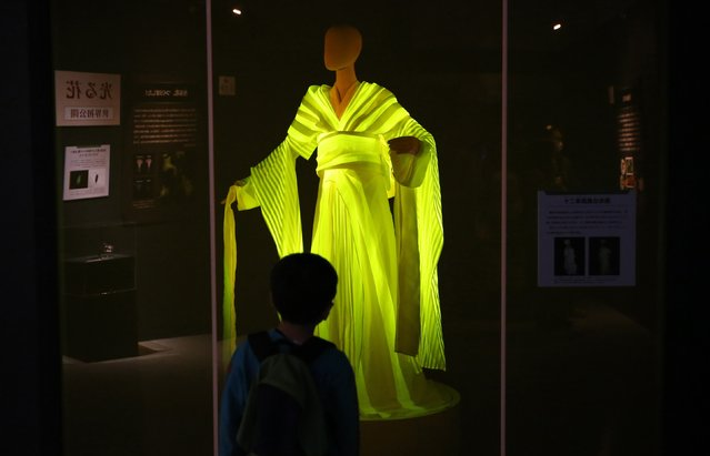 "A boy looks at a kimono made from silkworm cocoons which glow yellow when exposed to blue LEDs, at the ""Hikari the Wonder of Light"" exhibition at the National Museum of Nature and Science in Tokyo October 29, 2014. (Photo by Toru Hanai/Reuters)"
