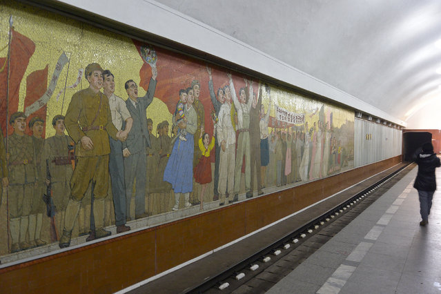 Inside an underground station in February 2013, in Pyongyang, North Korea. (Photo by Andrew Macleod/Barcroft Media)
