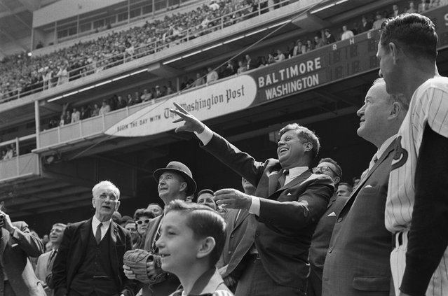 JFK throwing out the first pitch at season opener April 8, 1963. (Photo by Fred Ward/Award Agency)