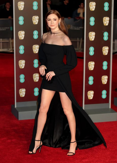 Actress Karen Gillan poses on the red carpet upon arrival at the BAFTA British Academy Film Awards at the Royal Albert Hall in London on February 18, 2018. (Photo by PA Wire)