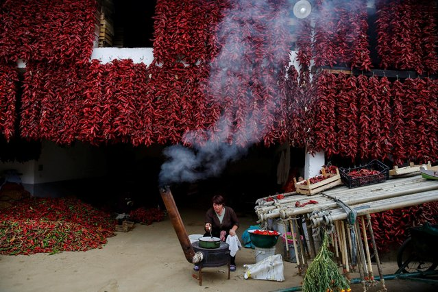 A woman cooks as bunches of paprika hang on the wall of her house to dry in the village of Donja Lakosnica, Serbia October 6, 2016. (Photo by Marko Djurica/Reuters)