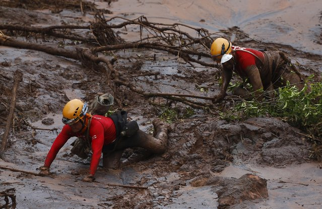 Rescue workers search for victims at Bento Rodrigues district witch was covered with mud after a dam, owned by Vale SA and BHP Billiton Ltd burst, in Mariana, Brazil, November 8, 2015. (Photo by Ricardo Moraes/Reuters)