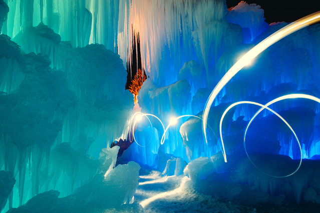 Light swirl in the ice castle. (Photo by Sam Scholes/Caters News)