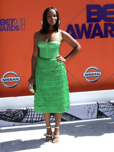 Tika Sumpter arrives at the BET Awards at the Microsoft Theater on Sunday, June 24, 2018, in Los Angeles. (Photo by Willy Sanjuan/Invision/AP Photo)