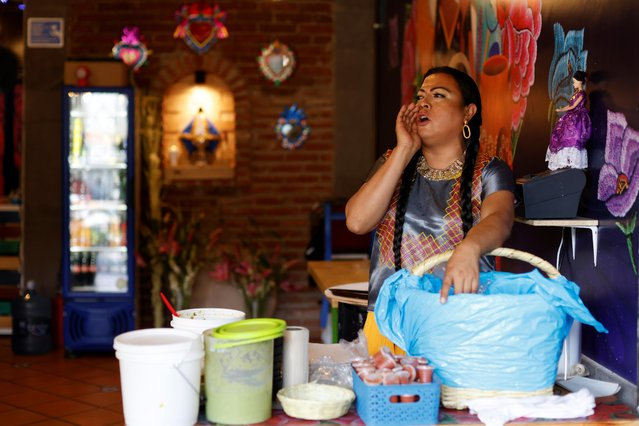 Francisco Marven, an indigenous transgender woman known as Lady Tacos de Canasta who starred in the Netflix series Taco Chronicles shouts to sell tacos at her restaurant, as she is set to campaign as a lawmaker in the local elections in June mid-terms in Mexico City, Mexico on April 9, 2021. (Photo by Carlos Jasso/Reuters)