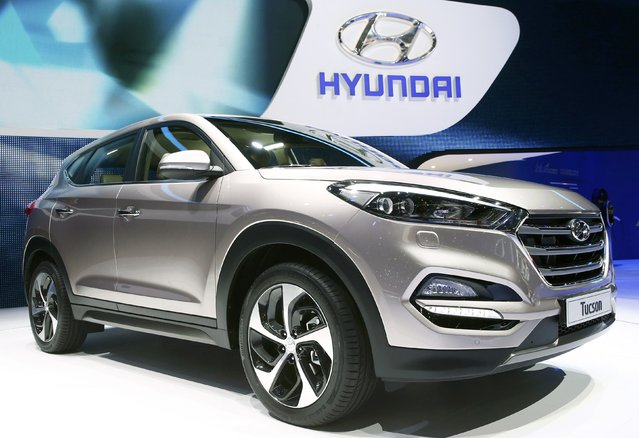 The new Hyundai Tucson is seen during the second press day ahead of the 85th International Motor Show in Geneva March 4, 2015.  REUTERS/Arnd Wiegmann